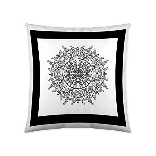 LA Mandala Frame Funda de cojín, Blanco, Negro, Sin Relleno