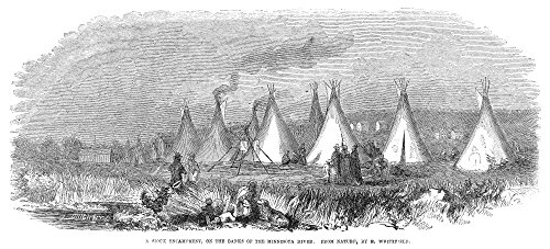 Minnesota Sioux 1857 Na Sioux Encampment On The Banks Of The Minnesota River Wood Engraving After A Sketch By Edwin Whitefield 1857 Poster Print by (18 x 24) -  Granger Collection, GRC0355174