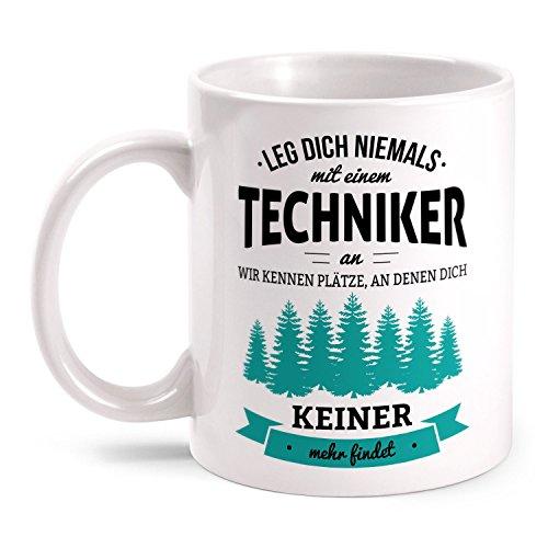 Fashionalarm Tasse Leg dich niemals mit einem Techniker an beidseitig bedruckt mit Spruch   Geburtstag Geschenk Idee Technik Ingenieur Job Arbeit, Farbe:weiß