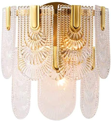 MUZIDP Luz de lujo moderno cobre dormitorio estudio personalidad cabecera lámpara sala de estar cristal lámpara de pared