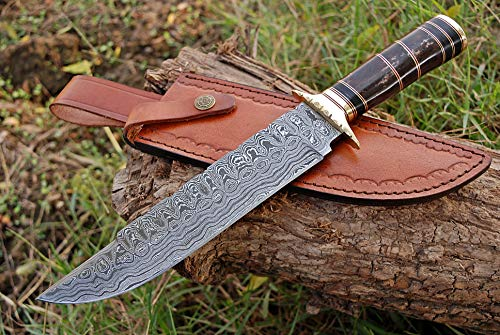Zaildar 13 inch Custom Handmade Damascus Steel Bowie Knife Tactical Knife Hunting Knives Survival Knife Camping Knife with Pakka Wood & Bone Handle, Damascus Guard & Spacers with Leather Knife Sheath