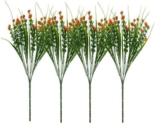 Planta Artificial Exterior e Interior Plantas Flores Plástico para Balcon Cocina Jardinera Terraza Valla Boda Maceta Colgante Patio Planta (Color : Orange, Size : 4pcs)