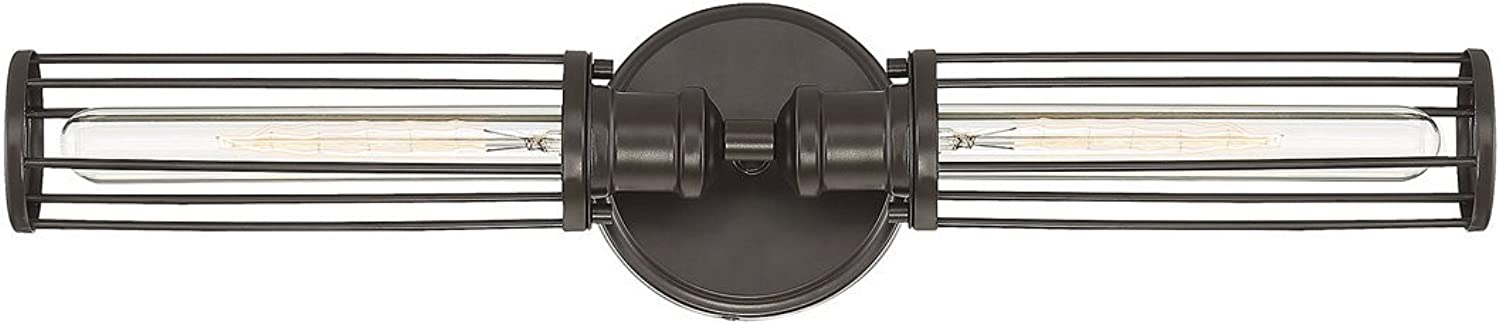 Trade Winds Lighting TW80022ORB Industrial Retro 2 Light Bath Wall Vanity Wire Cage Fixture, 60 Watts, in Oil Rubbed Bronze