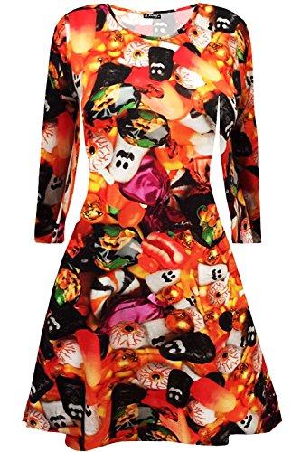 B-Creative Mini vestido de Halloween con diseo floral de calavera murcilago y telaraa para nias (9/10 aos)