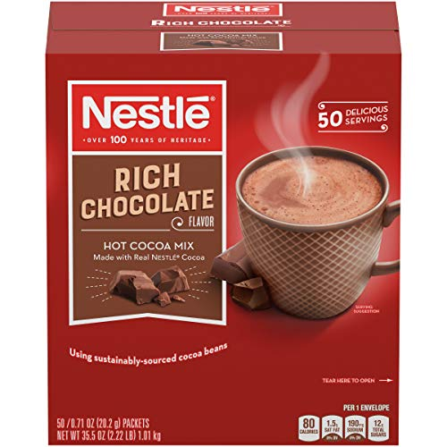 Nestle Hot Chocolate Packets, Hot Cocoa Mix, Rich Chocolate Flavor, Made with Real Cocoa, 0.71 oz, Bulk Pack (50 Count)