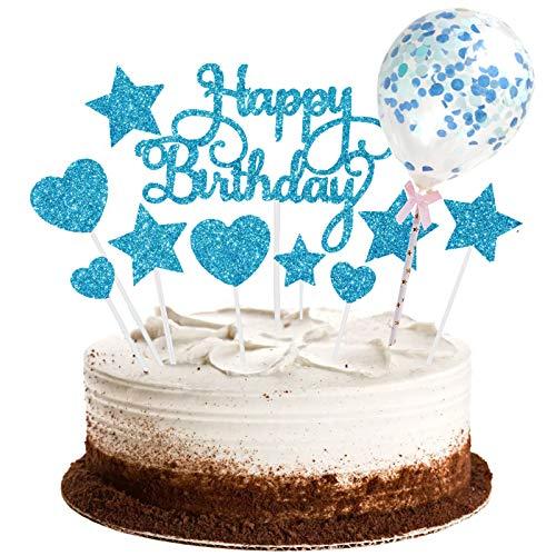 saizone Decoración para Tarta, 15 PCS para Tartas de Feliz Cumpleaños, Estrellas, Corazón, Cupcakes con Globo Brillante, Cupcakes de Cumpleaños, Decoración para Fiesta(Azul)