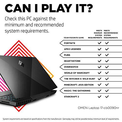 Omen by HP 2019 17-Inch Gaming Laptop, Intel i7-9750H, NVIDIA GeForce RTX 2080 (8 GB), 16 GB RAM, 512 GB Solid-State Drive, VR Ready, Windows 10 Ho   me (17-cb0090nr, Shadow Black)