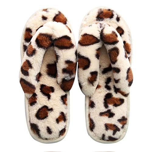 Unisex Felpa Chanclas Zapatillas, cálido tirón mullida Lana para Adultos Faux Flops, Zapatillas Punta Abierta Peludos,36-37,Beige Leopard
