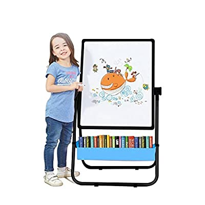 Kids Art Easel U-Stand Whiteboard&Chalkboard Double Sided Stand, 29.5inch-44inch Height Adjustable & 360°Rotating with Bonus Magnetic Letters and Numbers (Black)