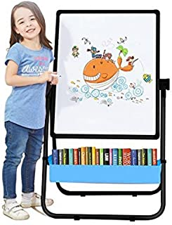 Kids Art Easel U-Stand Whiteboard&Chalkboard Double Sided Stand, 29.5inch-44inch Height Adjustable & 360°Rotating with Bonus Magnetic Letters and Numbers