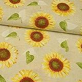 Dekostoff Sonnenblumen beige - Preis gilt für 0,5 Meter