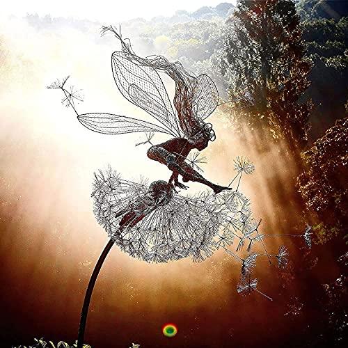 Garten-Silhouettenpfähle, Feen Und LöWenzahn Tanzen Zusammen Skulpturen, LöWenzahn-Fee Skulptur Dekoration, Feengarten Löwenzahnstatue, Miniatur-Skulpturen, Löwenzahn, Fairy, Elfen, Gartendekoration A