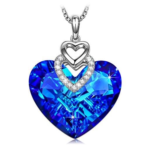J.RENEÉ Kette Damen, Halskette Damen, Herzkette, mit Kristall Blau von Swarovski, Schmuck Damen, Geschenk für Frauen, Kette Herz