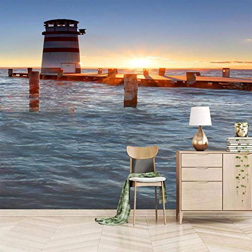 QJHLG Fototapete Aufkleber 3D Vlies Wandbild Für Schlafzimmer Wohnzimmer Küchen Wandkunst Dekoration, See-Leuchtturm 300X210Cm (B X H)