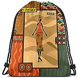 Roman Lin Sac D'École À Cordon,Gymsack Léger,Sac De Sport,Sac À Dos Gymnastics,African Girl Tribal Floral Unisex Lightweight School String Pull Bag,Cinch Pack