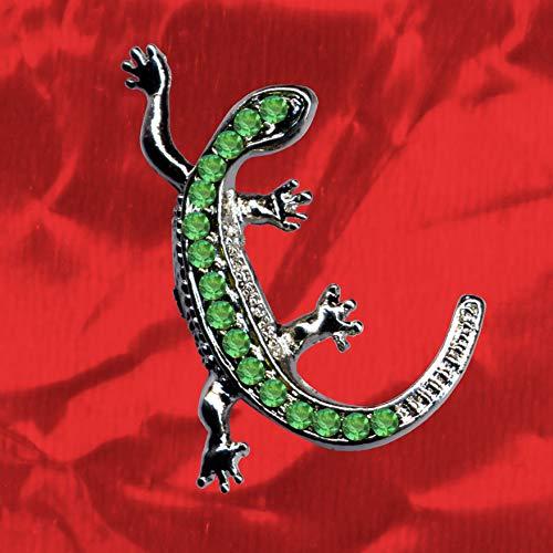 Eidechse Gecko Salamander Echt Sterling Silber 925 Grüne Zirkonia Kristalle Kettenanhänger Anhänger Tier Echse