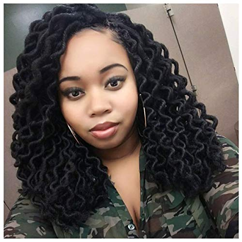 5 Pack Spring Twist Crochet Braids 14 Inch Goddess Locs Curly Wavy Crochet Hair 2# Colors Synthetic Fluffy Braiding Hair Extensions (2# 5pcs/pack,14inch)