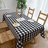 Aquazolax Black and White Gingham Tablecloth Fabric Buffalo Pattern Print Premium Rectangle Weights Table Cloth, 54x84 inch