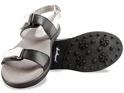 Sandbaggers Lola Women's Golf Sandal (Black & White, 8)