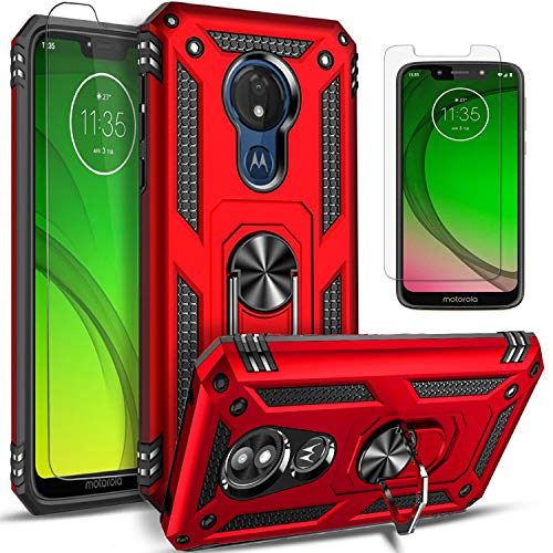 STARSHOP- Motorola Moto G7 Power Case, G7 Supra/Optimo Maxx, [NOT FIT Moto G7 / Optimo] with [Tempered Glass Protector Included] Metal Ring Stand Shockproof Drop Protection Phone Cover-Red