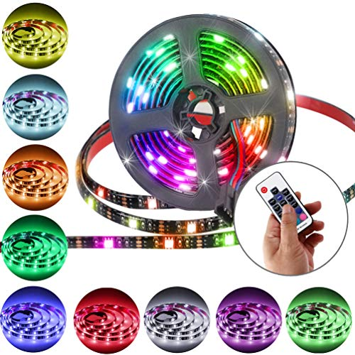 LED Strip Lights Battery Powered With RF Remote Controller, 6.56ft 2m RGB Flexible LED Light Strips for TV Backlight, USB Operated Color Changing Rope Light for Home and DIY Decoration (Black Strip)
