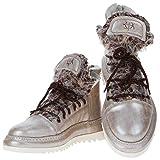 Area Forte - Sneaker da Donna in Pelle Italiana Tipo Champagne, Mezza Altezza con Pelliccia, Beige (Champagner), 40 EU
