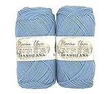 Ovillos de lana merino 100% para tejer y ganchillo, 200 g (2 x 100 g) fabricados en la UE (azul C6000)