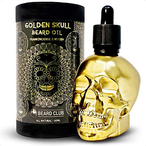 Huile de Barbe Golden Skull | Encens d'Oliban & Myrrhe 60ml | Naturelle & Bio | Adoucit, Revitalise, Met Fin aux Démangeaisons et aux Pellicules de Barbe, Favorise la Croissance et la Densité