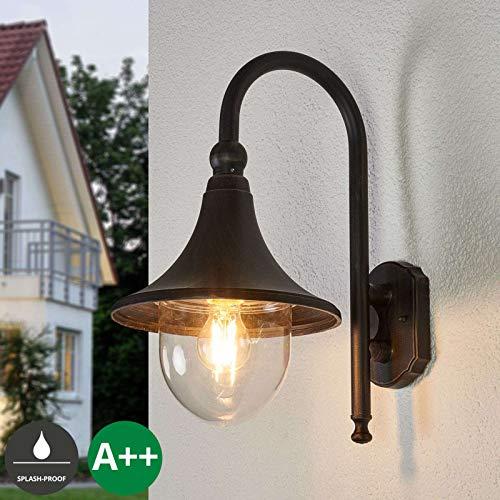 Lindby Wandleuchte außen 'Daphne' (spritzwassergeschützt) (Retro, Vintage, Antik) in Braun aus Aluminium (1 flammig, E27, A++) - Außenwandleuchten, Wandlampe, Led Außenlampe, Outdoor Wandlampe für