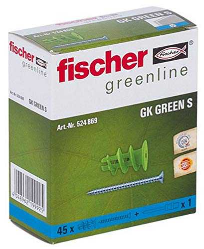 fischer Gipskartondübel GK GREEN mit Schrauben, starker Gipskarton-Dübel aus mind. 50 % nachwachsenden Rohstoffen, einfache Montage in Gipskarton, 45 Stück