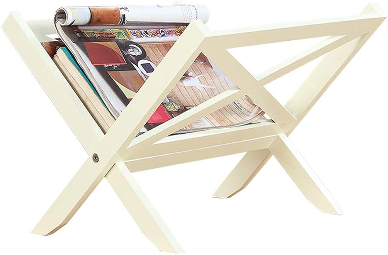 YNN Solid Wood Floor Standing Bookcase Folding Bookshelf Living Room Study Furniture (color   White)
