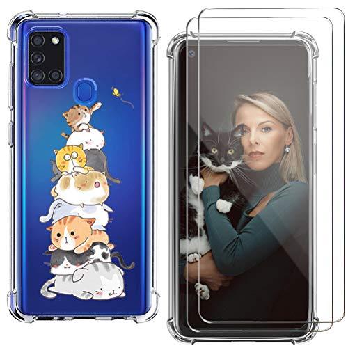 kinnter Silikon Handyhülle Kompatibel mit Samsung Galaxy A21s Hülle Transparent Ultra Dünn Schutzhülle mit 2 Stück Galaxy A21s Panzerglas Screen Protector Kratzfeste Schutzfolie
