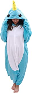 Animal Oneise Narwhal Pajamas - Plush One Piece Costume (Medium, Blue)
