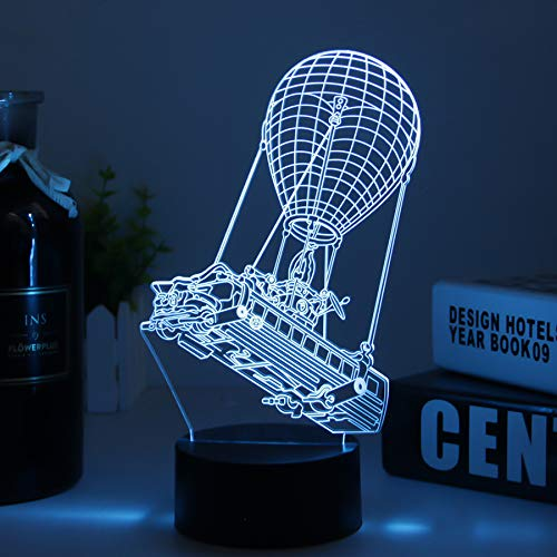 Balloon 3D Led Desk Lamp for Fortress Battleroyal Players Modelling Weapon Night Light USB Charge & Touch Button Kids Bedroom Lighting Gift for Home Decor (Black Balloon)