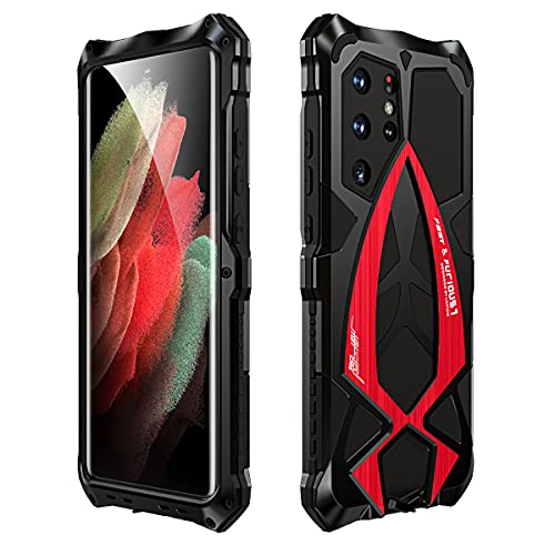 RAYOO Case for Samsung Galaxy S21 Ultra Tough Armor Cover,360 Degrees Full Body Protection Outdoor Case Heavy Duty Shockproof Hybrid Armour Aluminium Metal Bumper wtih Lanyard Strap,Nero+Rosso