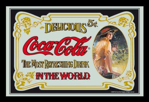 empireposter Coca Cola Klassik 2 - Bedruckter Spiegel mit Kunststoff Rahmen in Holzoptik, Kult-Spiegel - Grösse 30x20 cm
