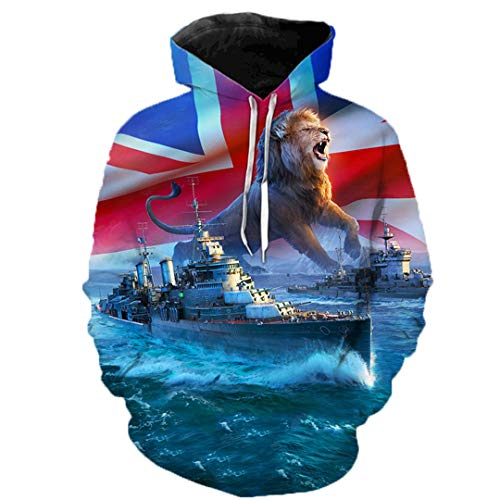 Rtiyslva Warship Cool 3D Printed Men Sweatshirt Fashion Graphic Hoodie Casual Streetwear Pullover C05 XXS