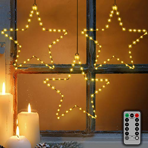 Window Lights 3 Pcs Christmas Window Star Lights with Timer Battery Operated Christmas Decorations 8 Lighting Modes with 3 Remote Controls for Outdoor, Indoor, Porch, Party, Warm White
