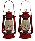 Shop4Omni Red Hurricane Kerosene Oil Lantern Emergency Hanging Light/Lamp - 12 Inches (2)