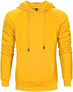 Howely Mens Slim Pocketed Hoodie Pure Color Casual Pullover Sweatshirt