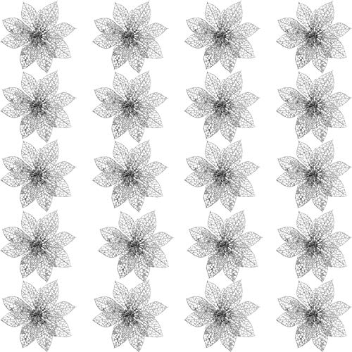 SATINIOR 20 Pieces Glitter Christmas Tree Ornaments Artificial Wedding Christmas Poinsettia Flowers for Festival Decoration (Silver)