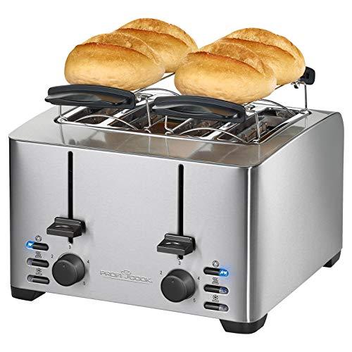 Edelstahl Toaster 4 Scheiben mit Brötchenaufsatz 4er Regelbarer Thermostat (Retro, Starke 1500 Watt, 4 Toastschlitze, Krümelschublade)