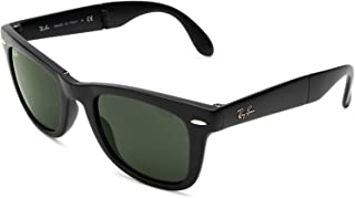 RAY-BAN RB4105 Wayfarer Folding Sunglasses, Black/Crystal Green, 50 mm