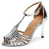SWDZM Zapatos de Baile Latino para Mujer, Sandalias de Fiesta Banquete, Suela de Ante,Tacco-7cm,Model-6216,Plateado, 5UK/39EU