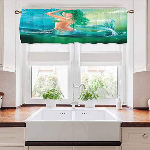 Adorise Window Curtains Mermaid in Ocean On Waves Tail Sea Creatures Dramatic Sky Dark Clouds Well Made Valances for Basement, Windows 56 x 16 Inch