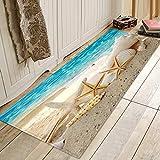 Beach Starfish Print Memory Foam Bath Rugs and Doormats Non Slip Absorbent Super Cozy Flannel Bathroom Rug Carpet