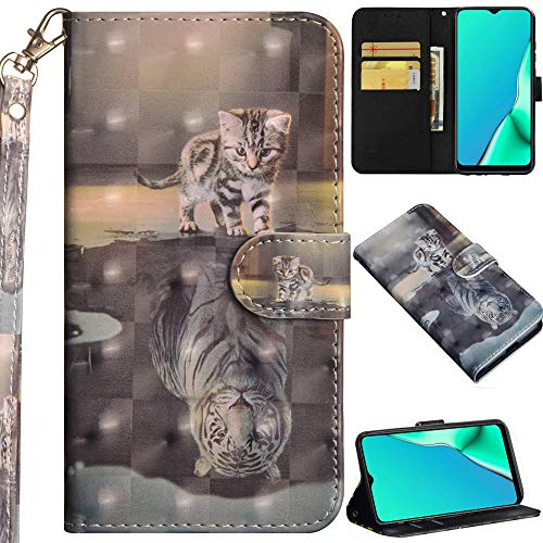 C/N DodoBuy Hülle für Motorola Moto One Hyper, 3D Flip PU Leder Schutzhülle Handy Tasche Wallet Hülle Cover Ständer mit Trageschlaufe Magnetverschluss - Katze Tiger