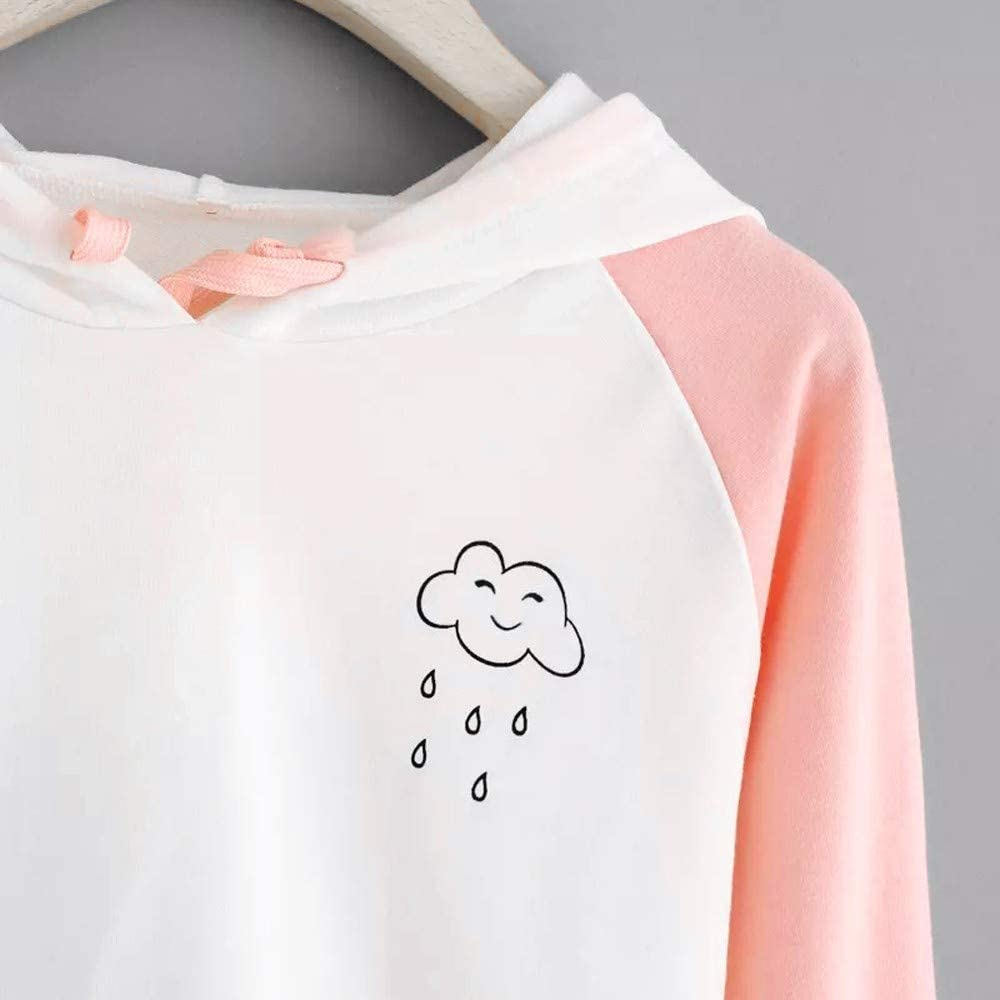 Girls' Hoodie, Misaky Casual White Cloud Print Mixed Color Long Sleeve Hooded Pullover Sweatshirt Blouse Tops