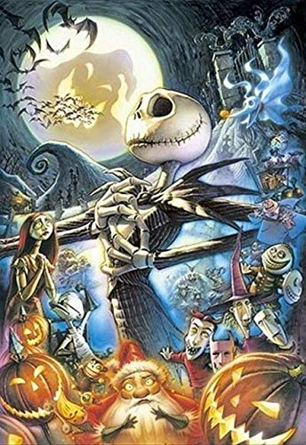 DIY Diamond Painting Jack and Sally Halloween Full Square Drill Kits The Nightmare Before Christmas Cross Stitch Mosaic Art for Adults Relaxation and Home Wall Decor Festival Gift(16x20IN/40x50CM) -  Lele, LV-J&S42-16x20