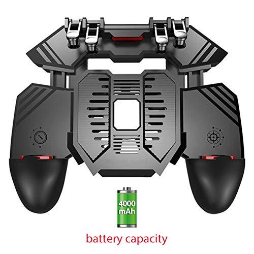 QHAI del Telefono Mobile del radiatore, per PUBG Helper Telefono Mobile Multi-Function del radiatore Maniglia, raffreddato ad Acqua Fan Sei Dita Manico Banca di Potere,4000ma